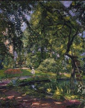 Max Slevogt: Garten in Godramstein mit verwachsenem Baum und Weiher