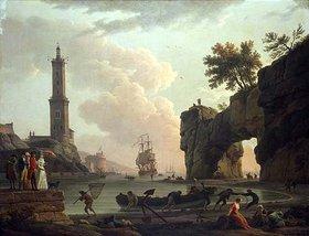 Claude Joseph Vernet: Ein Mittelmeerhafen bei Abend. Auf der Mole der Künstler mit Sohn, Tochter