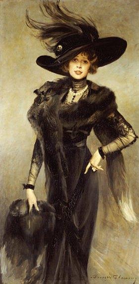 François Flameng: Bildnis einer Dame mit grossem Hut und Pelzstol