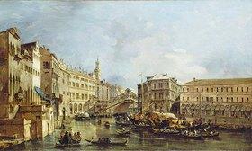 Francesco Guardi: Blick auf den Rialto und den Palazzo dei Camerlenghi