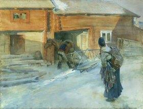 Carl Larsson: Winterlicher Bauernhof in Bingsjo