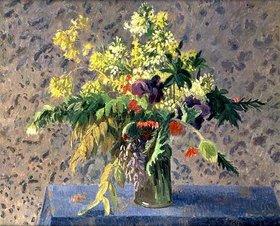 Camille Pissarro: Blumenstrauss mit Mohnknospen und Iris