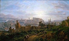 Thomas Grant: Edinburgh. Blick vom Carlton Hill über das Gefängnis und die Stadt zum Schloss