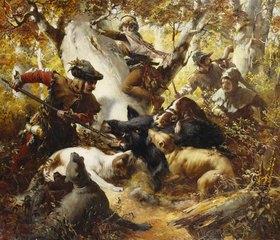 Ferdinand Wagner: Wildschweinjagd in alten Zeiten