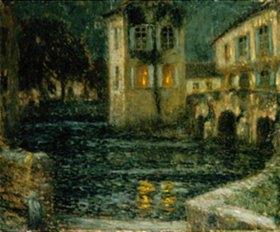 Henri Le Sidaner: Abend am alten Wasserschloss (L'abreuvoir)