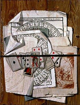 Egidio Maria Bondoni: Trompe l'oeil mit verschiedenen Drucken und Spielkarten