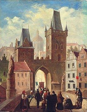 Jules Worms: Prozession auf der Karlsbrücke in Prag in Richtung Kleinseite