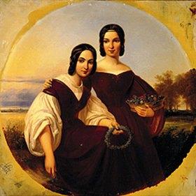 Carl Begas d.Ä.: Zwei Mädchen vor einer sommerlichen Landschaft. Mitte 19.Jahrhundert