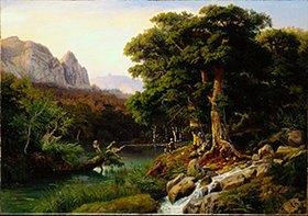 Johann Wilhelm Schirmer: Stiller Waldweiher im Gebirgstal