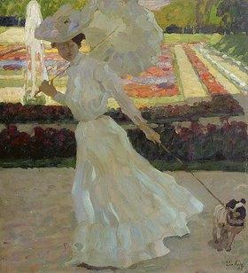 Leo Putz: Dame mit Hund im Schleissheimer Park