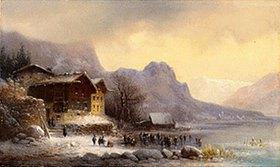 Anton Doll: Gebirgssee im Winter mit Eisläufern