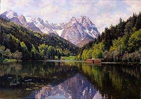 Peder Moensted: Der Riessersee bei Garmisch im Sommer