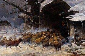 Ernst Meissner: Schafherde, die vor einem Schneetreiben in den Staal gebracht wird