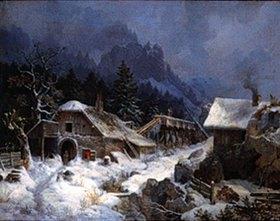 Heinrich Bürkel: Schmiede im Winter