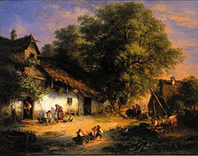 Carl Ebert: Dorfstrasse im Abendsonnenlicht
