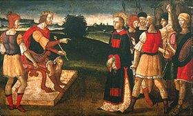 Giacomo Pacchiarotti: Der hl.Laurentius mit den Armen vor dem römischen Kaiser Valerian