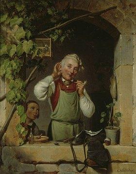 Karl Schröder: Hör ich recht? Schuster und Lehrling, der eine Vogelstimme imitiert