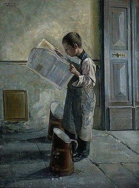 Willibald Alfred Reuter: Zeitunglesender junger Wasserträger