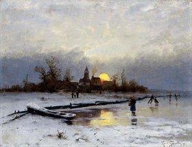 Heinrich Gogarten: Winterlicher Sonnenuntergang