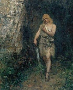 Ferdinand Leeke: Siegfried vor Fafners Höhle mit dem Ring und dem Schwert Notung