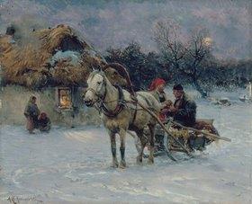 Alfred von Wierusz-Kowalski: Polnische Winterlandschaft mit Schlitten