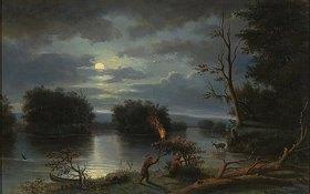 Henry Lewis: Indianer bei nächtlicher Hirschjagd am Mississippi