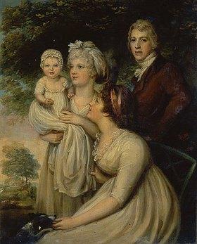 Englisch: Junges Paar mit Kind und Amme