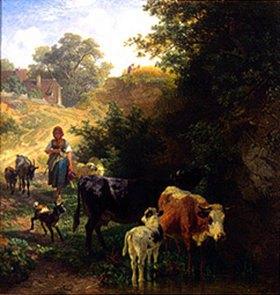 Johann Friedrich Voltz: Hirtin mit Herde an der Tränke