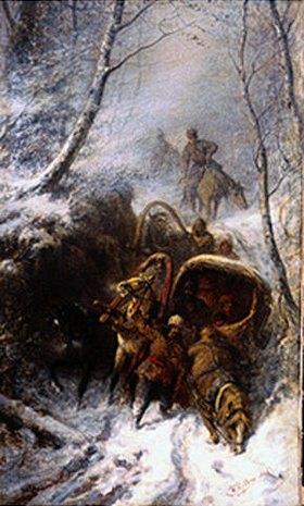 Wilhelm Amandus Beer: Kosaken mit Pferdeschlitten in einem Hohlweg