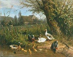Carl Jutz: Enten mit Kücken am Wasser