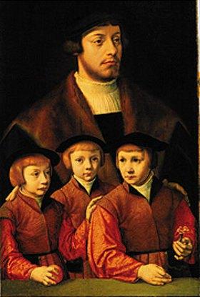 Bartholomäus Bruyn d.Ä.: Bildnis eines Mannes mit seinen drei Söhnen. 1530/1540(?)