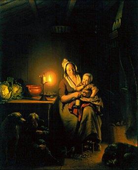 Petrus van Schendel: Mutter und Kinder bei Kerzenschein