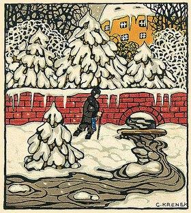 Carl Krenek: Fröhliche Weihnachten ! Weihnachtskarte der Wiener Werkstätten, No. 763