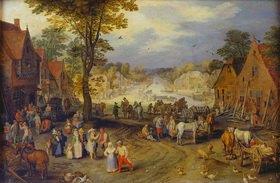 Jan Brueghel d.Ä.: Belebter Dorfplatz