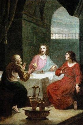 Joseph Hauber: Christus in Emmaus, das Brot brechend. Entwurf für ein Altargemälde