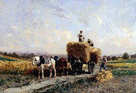 Jules Jacques Veyrassat: Sonniger Erntetag. Mitte 19.Jahrhundert