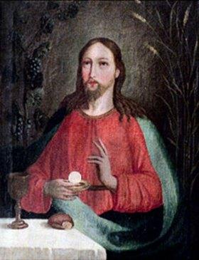 Alpenländisch: Christus mit Hostie und Kelch (Allegorie der Wandlung)