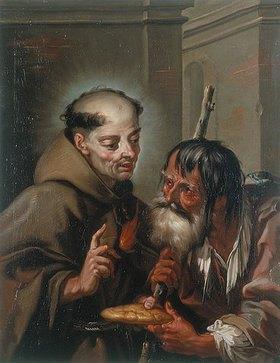 Franz Sebald Unterberger: Der hl. Petrus Regaladis speist einen Bettler mit Brot