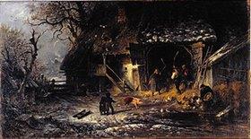 Albert Kappis: Winterarbeit auf dem Bauernhof (Dreschen auf der Tenne)