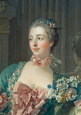 François Boucher: Kopf der Marquise de Pompadour. Ausschnitt aus dem Gemälde