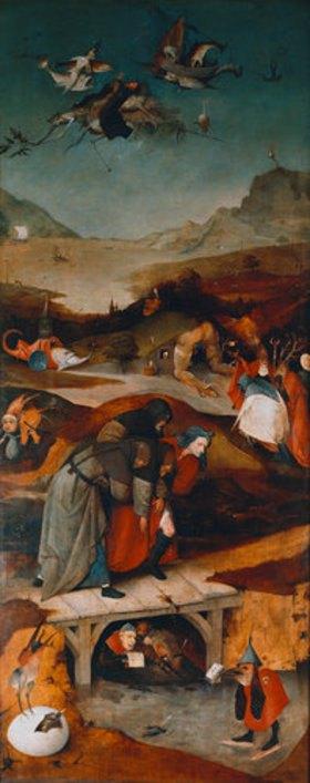 Hieronymus Bosch: Antonius-Altar. Linke Tafel: Der Flug und Sturz des hl.Antonius