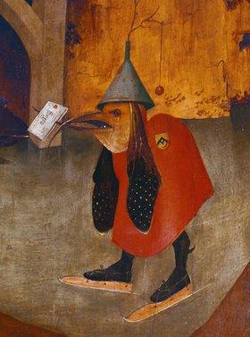 Hieronymus Bosch: Antonius-Altar. Detail aus der linken Tafel: Brieftragender Vogel