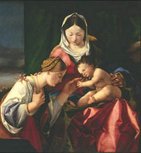 Lorenzo Lotto: Die mystische Vermählung der heiligen Katharina. Ausschnitt: Die Hl.Katharina