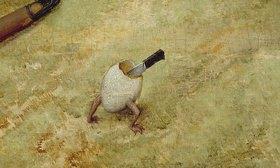 Pieter Brueghel d.Ä.: Detail aus 'Schlaraffenland': Laufendes Ei