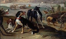 Jan van Kessel: Aus dem Zyklus Die vier Erdteile: Randbild Hunde aus der Tafel Europa