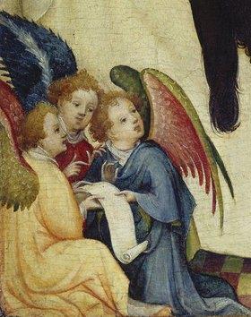 """Meister der hl.Veronika: Detail aus """"Die hl.Veronika mit dem Schweisstuch Christi"""": Drei Engel"""