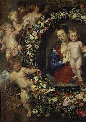 Peter Paul Rubens: Madonna im Blumenkranz (Detail, linke Seite des Gemäldes, siehe auch Bildnummer 1969)