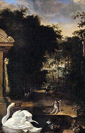 Melchior d' Hondecoeter: Geflügel in einem Park