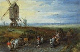Jan Brueghel d.Ä.: Windmühlen auf weiter Ebene
