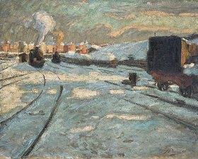 Hermann Pleuer: Bahnhof im Schnee